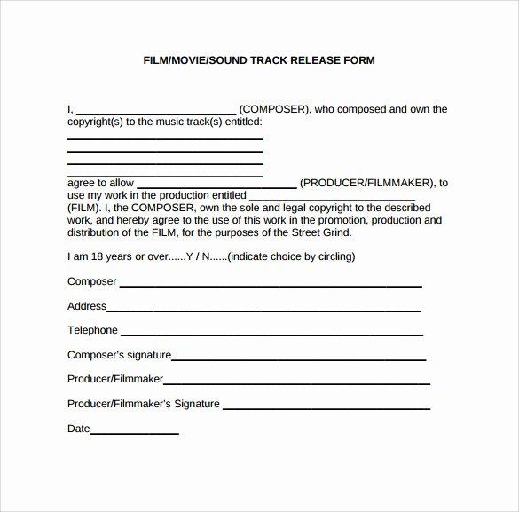 Standard Media Release form Template Luxury 10 Release form Templates to Download for Free