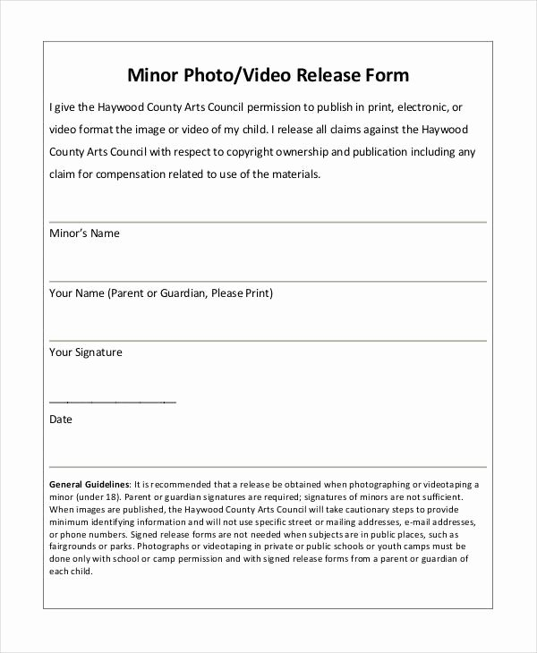 Standard Media Release form Template Unique Release form Template 9 Free Pdf Documents