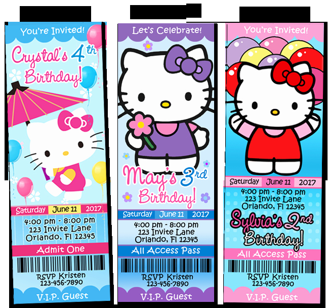 Staples Ticket Template Best Of Hello Kitty Birthday Party Invitations Ticket Charmmy