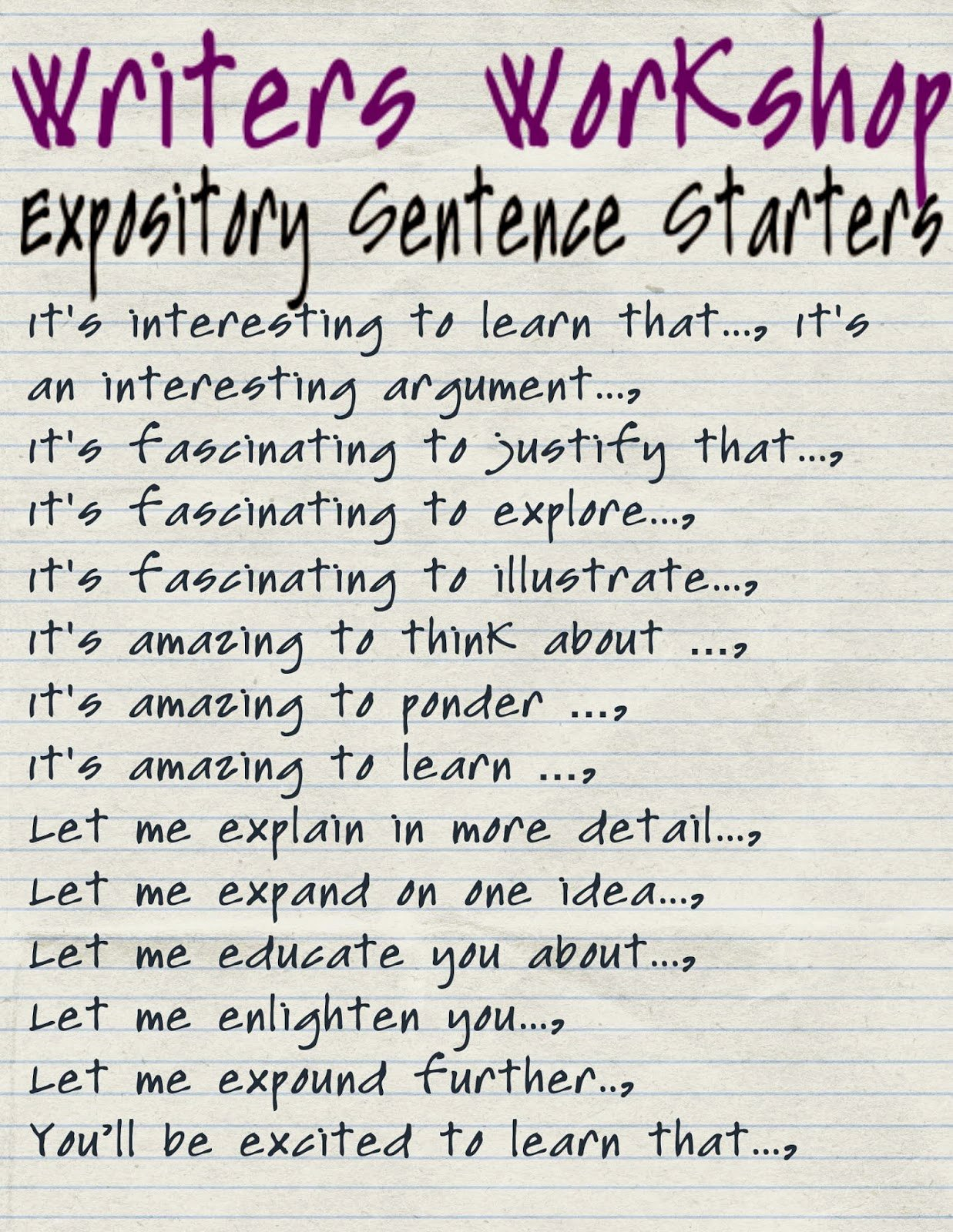 best topic sentence starters expository