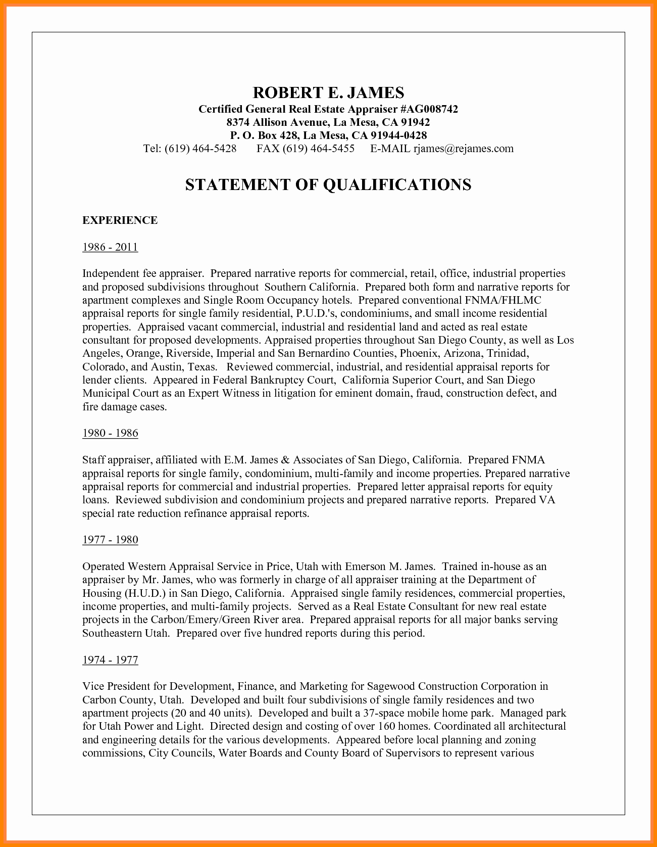 Statement Of Qualifications Template Free Luxury 6 Writing A Statement Of Qualifications