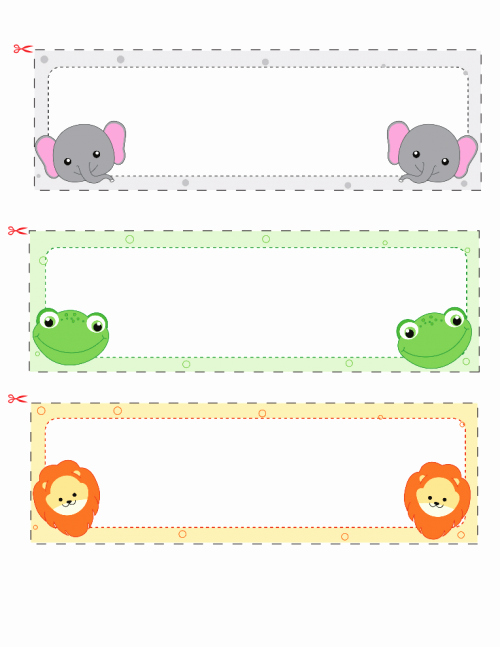 Student Desk Name Plates Templates Elegant Name Cards for Kids 2 Elephant Classroom