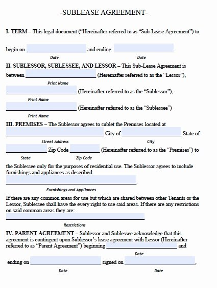 Sublease Template Free Awesome Sublease Agreement Template