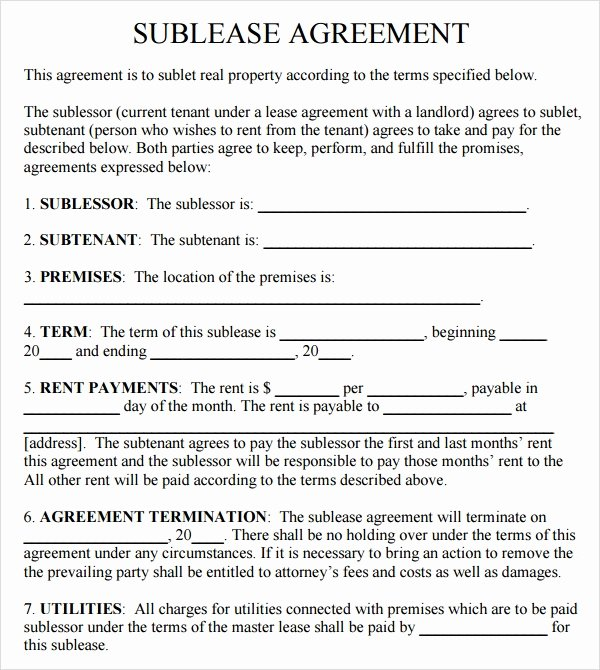 Sublease Template Free New Sublease Agreement 18 Download Free Documents In Pdf Word