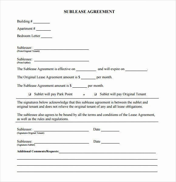 Sublease Template Free New Sublease Agreement 7 Free Samples Examples format