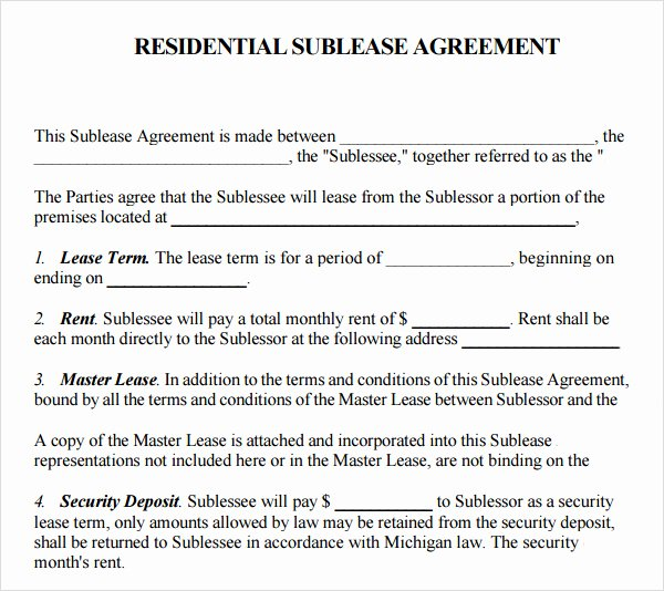 Sublease Template Free New Sublease Agreement Template