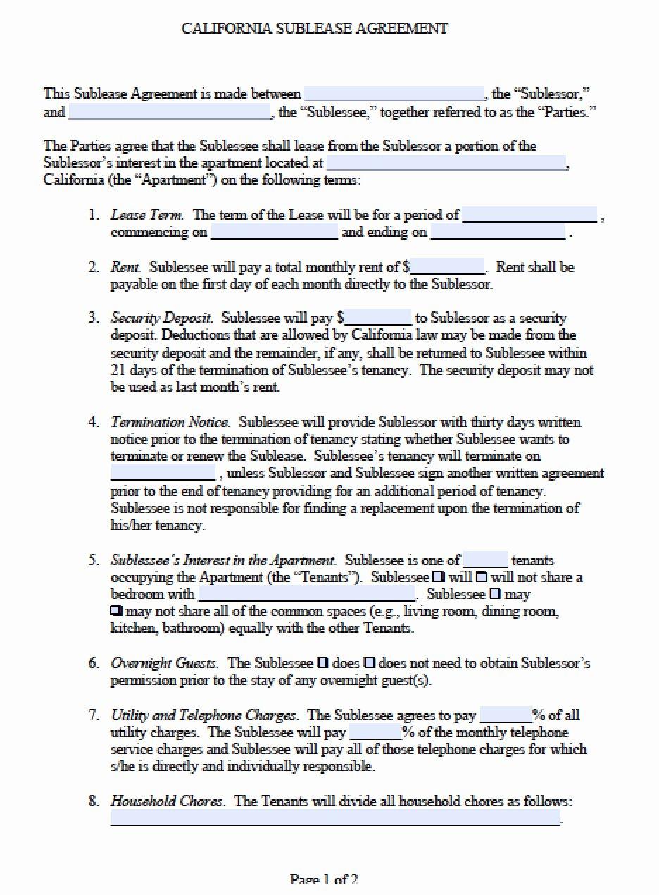 Sublease Template Free Unique Free California Sub Lease Agreement Pdf