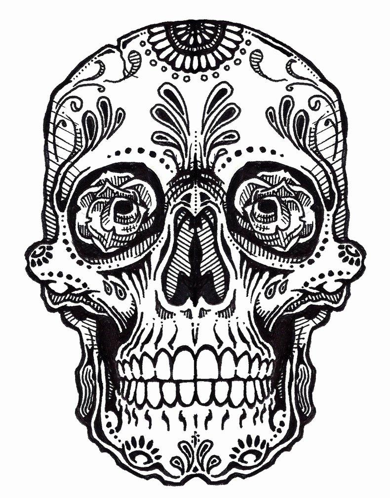 Sugar Skull clipart outline