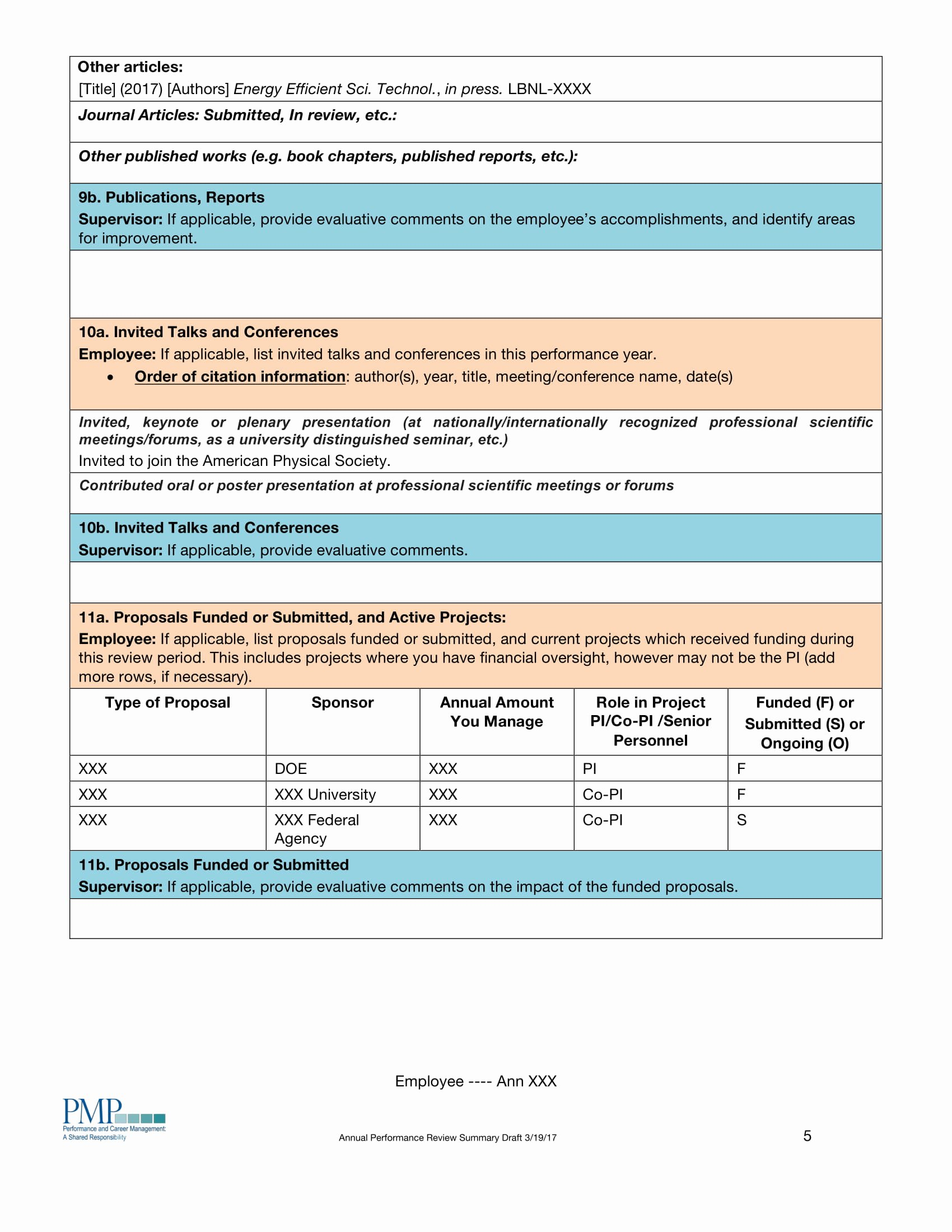 Summary Of Performance Examples Elegant Performance Summary Examples In Pdf