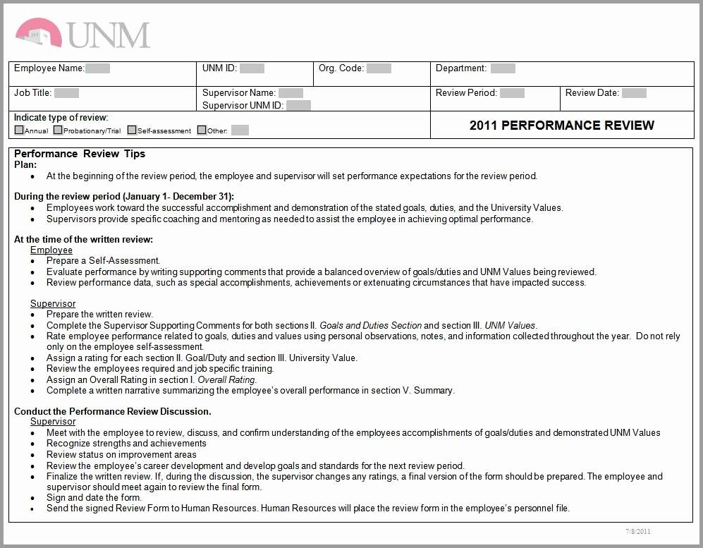 Summary Of Performance Examples Elegant Training Unm Human Resources