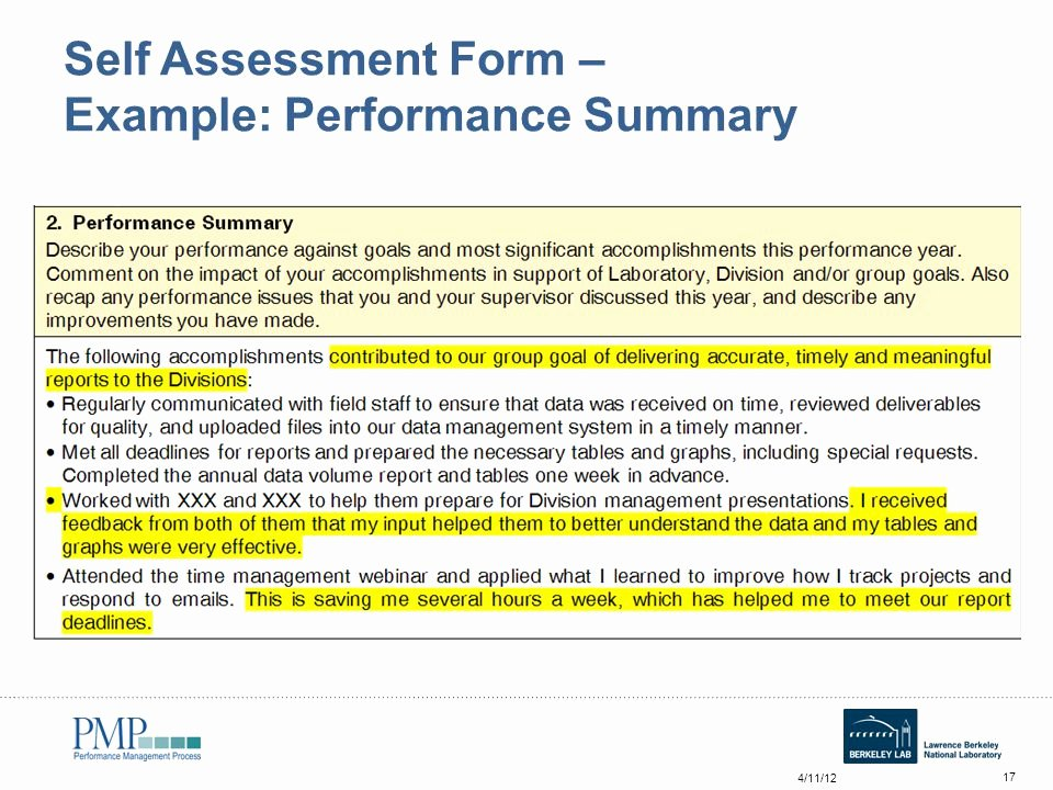 Summary Of Performance Examples Fresh Annual Self assessment Workshop for Employees Ppt Video