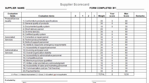 Supplier Performance Scorecard Template Xls Inspirational Supplier Evaluation Template for Microsoft Word