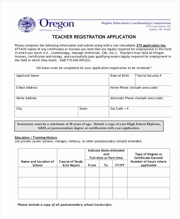 Teacher Application forms Fresh Registration form Templates