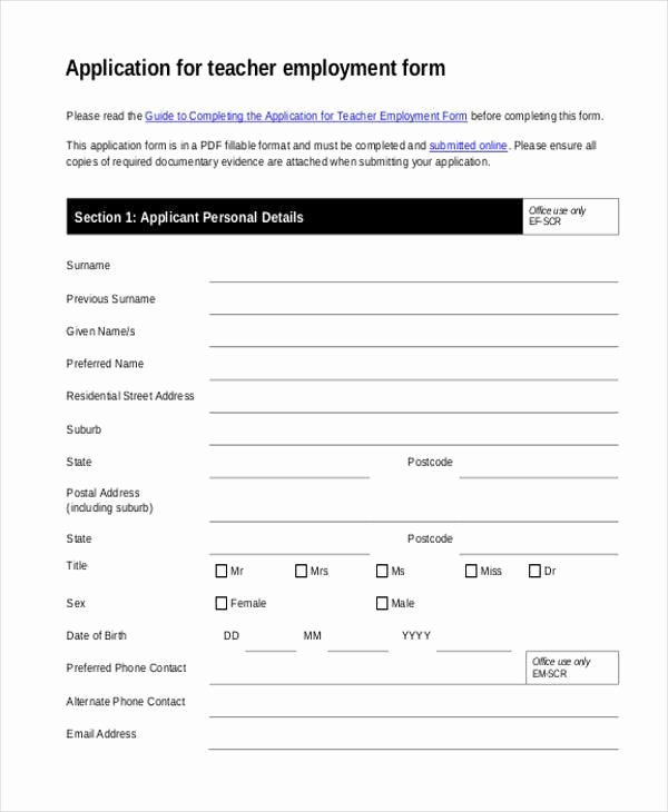 employment forms in pdf