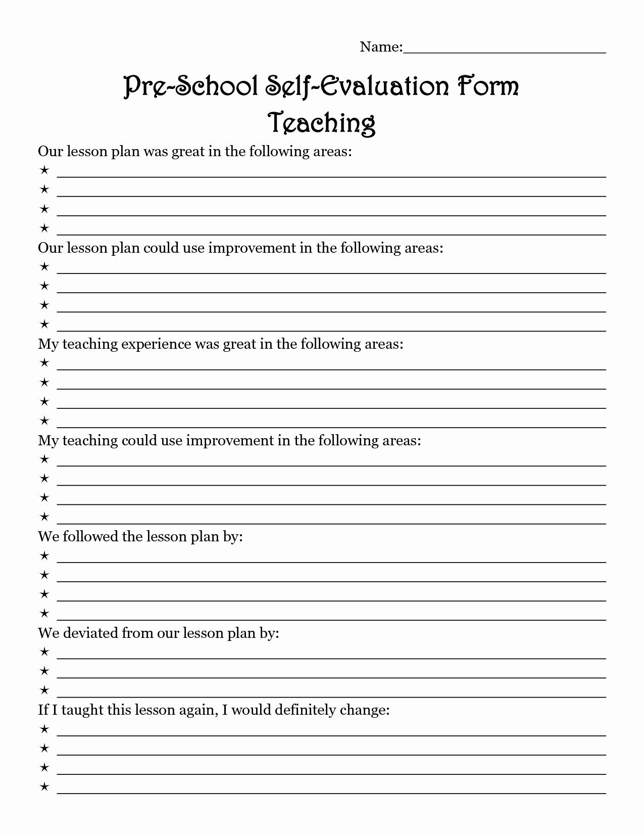 Teacher Application forms Inspirational Teacher Evaluation form Preschool Early Childhood