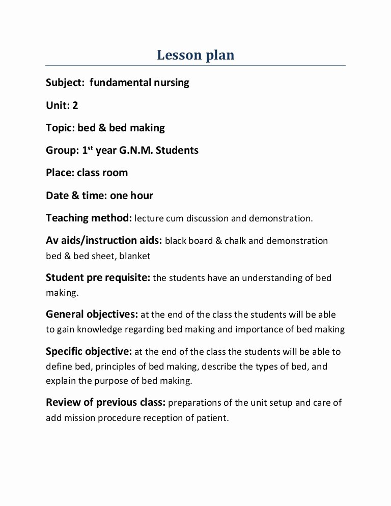 Teaching Plan for Nursing Fresh Lesson Plan