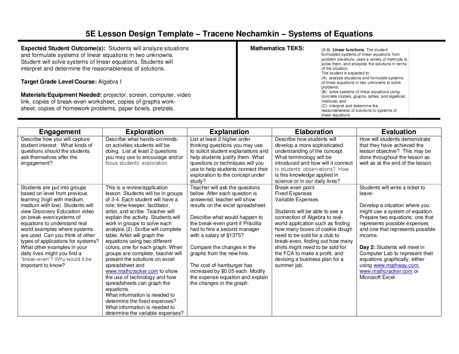 5e lesson plan systems of equations