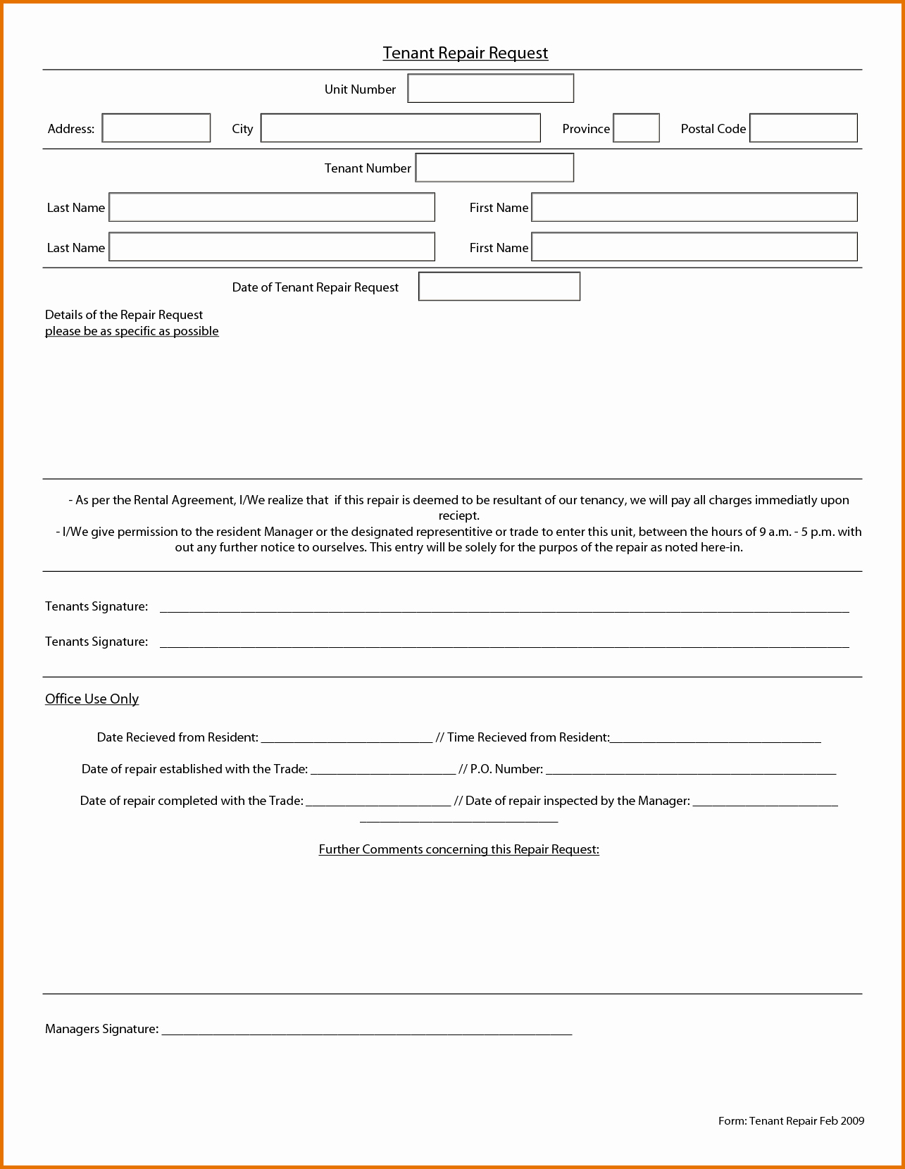 Tenant Maintenance Request form Template Awesome Maintenance Request form Template
