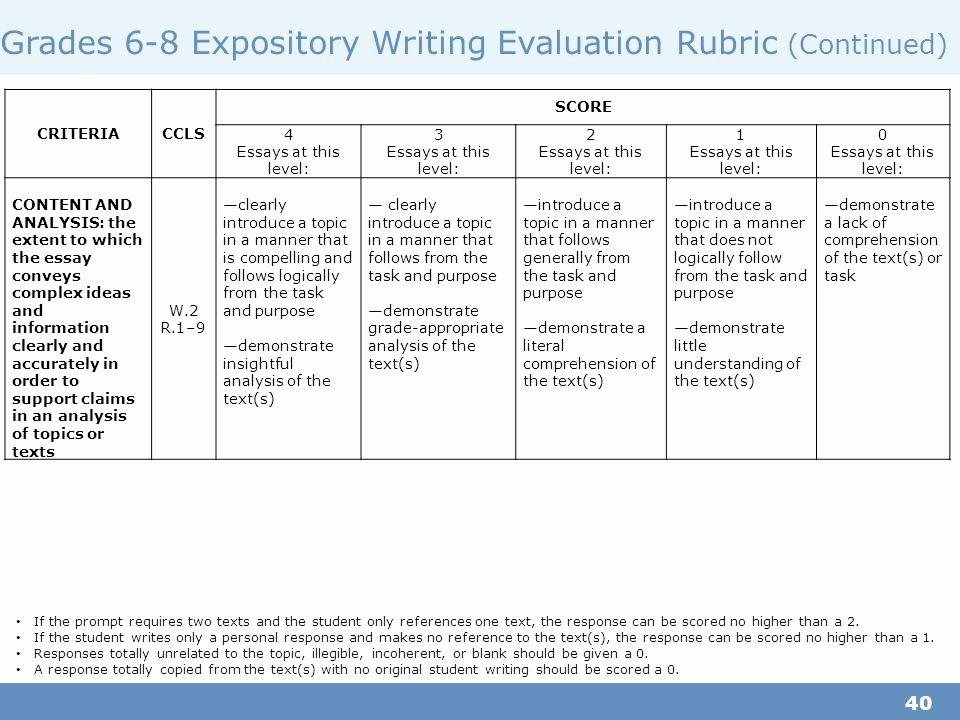 grade 6 essay rubric