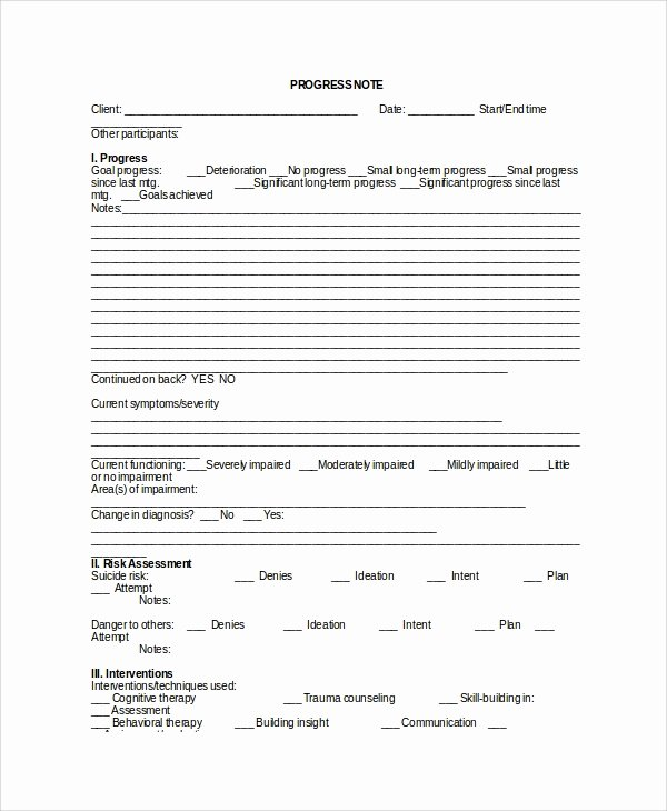Therapy Progress Note Template Free Awesome Sample therapy Note Template 5 Free Documents Download