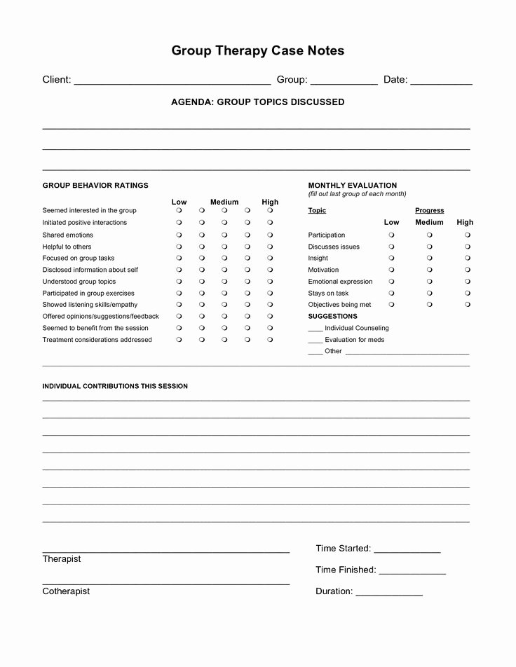 Therapy Progress Note Template Free Luxury Free Case Note Templates Group therapy Case Notes