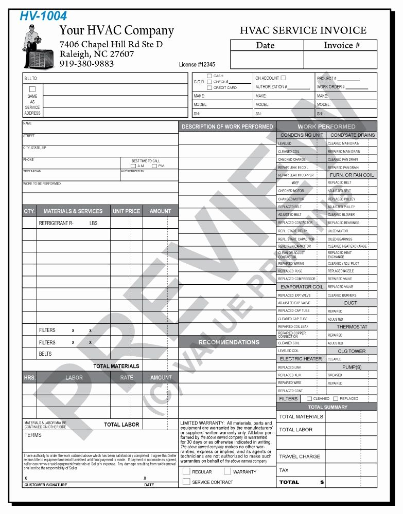 Time and Materials Template Awesome Hv 1004 Hvac Time & Materials Work order Invoice 2