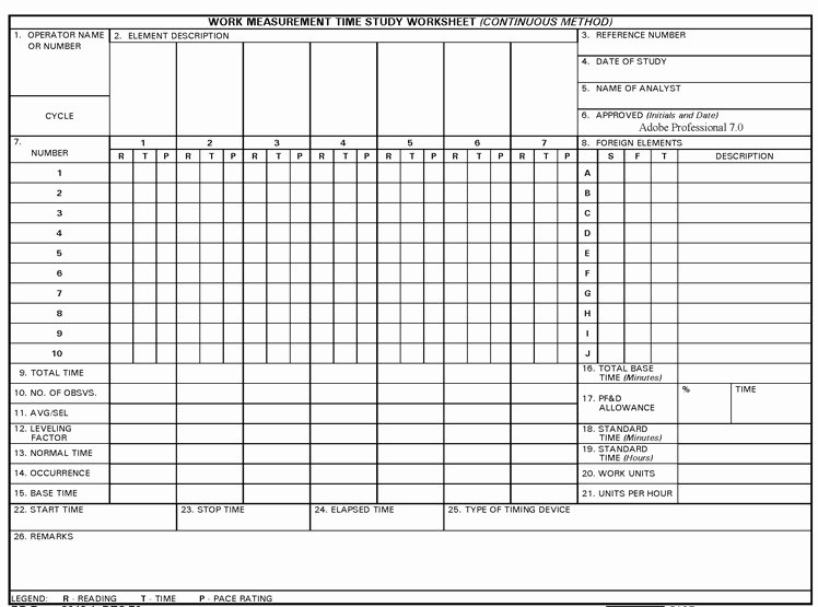 Time and Motion Study Template Excel Fresh Time Study Template