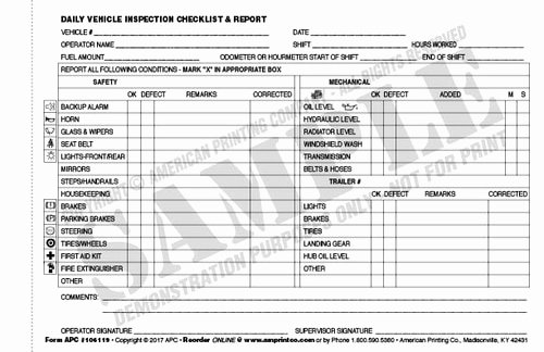 Trailer Inspection form Template Elegant Daily Vehicle Checklist