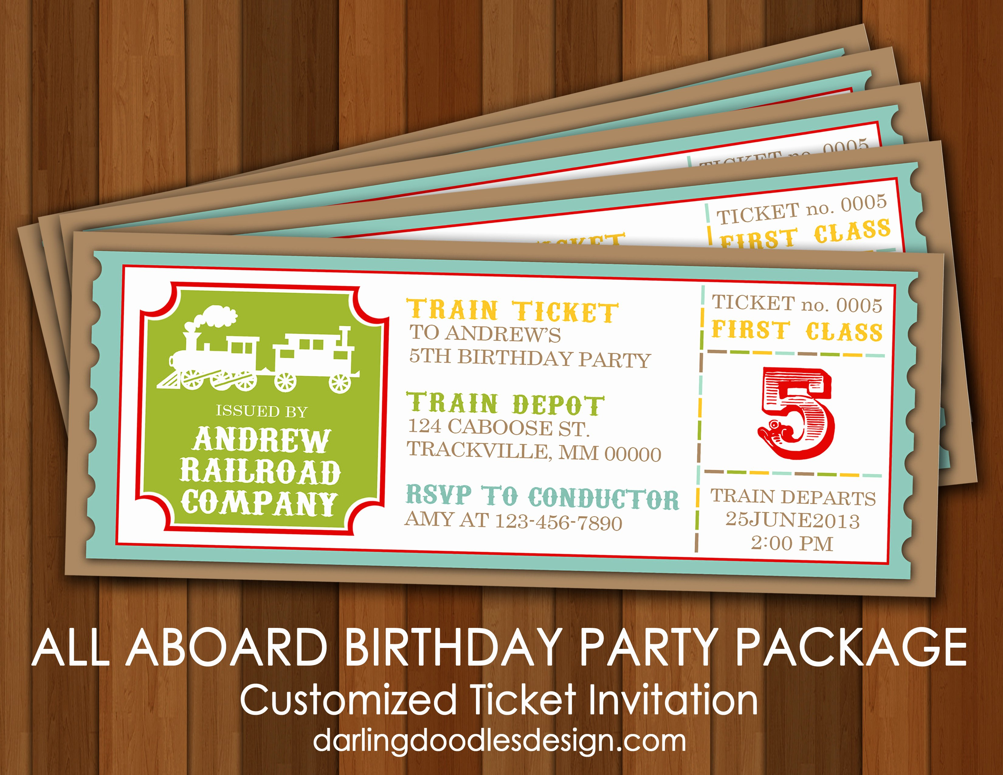 Train Ticket Birthday Invitation Beautiful All Aboard the Party Train Darling Doodles