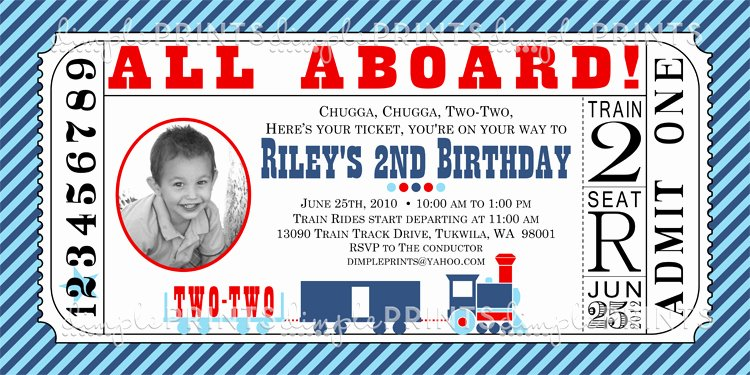 train ticket printable birthday invitation