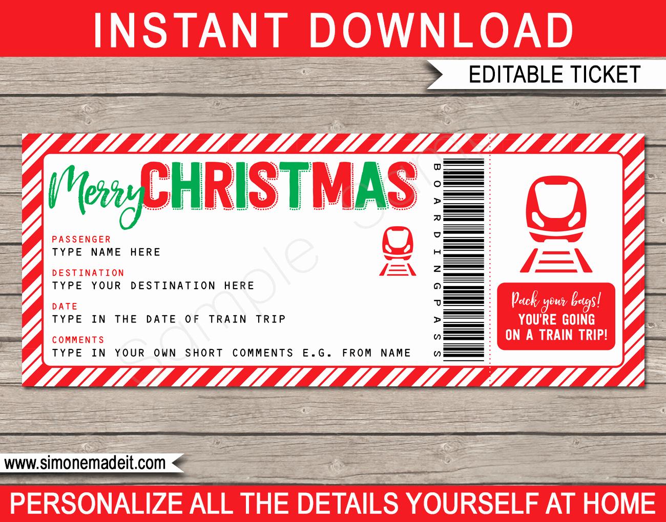 Train Ticket Template Inspirational Christmas Train Ticket Boarding Pass