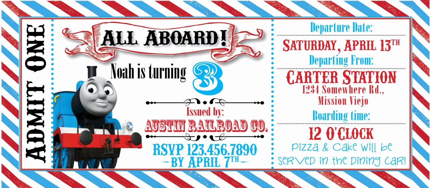 Train Ticket Template Luxury Thomas the Train Ticket Party Invitation by Rawkonversations