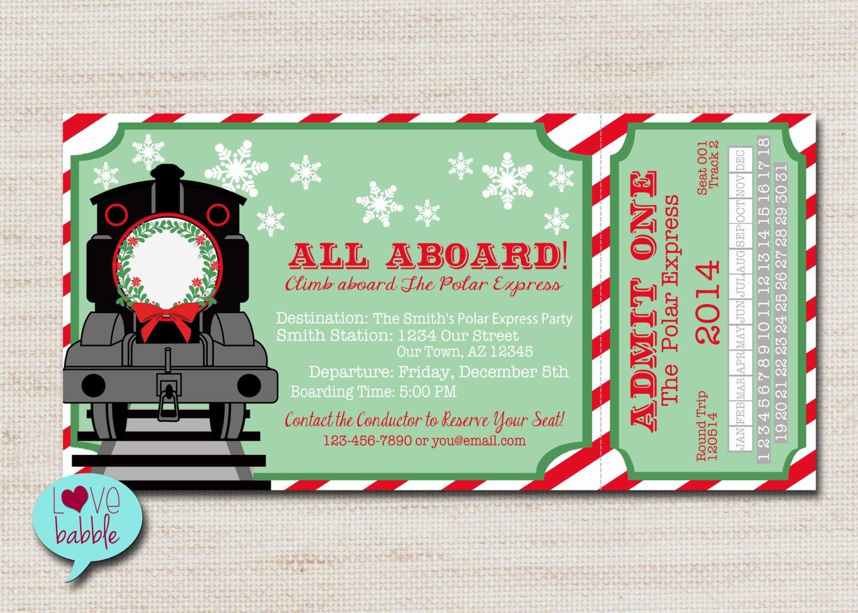 Train Ticket Template Unique Christmas Train Invitation Christmas Party Invitation Train