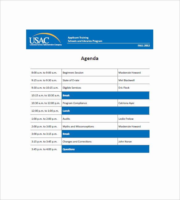 Training Agenda Template In Word New Training Agenda Template – 8 Free Word Excel Pdf format