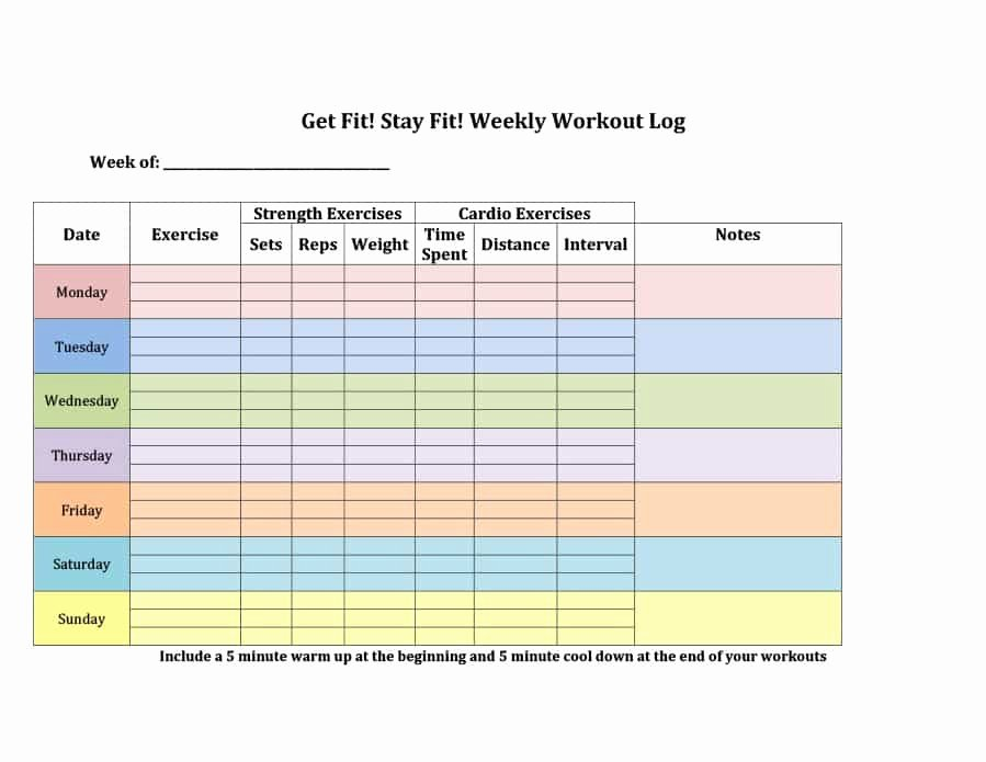 Training Log Template Lovely 40 Effective Workout Log & Calendar Templates Template Lab