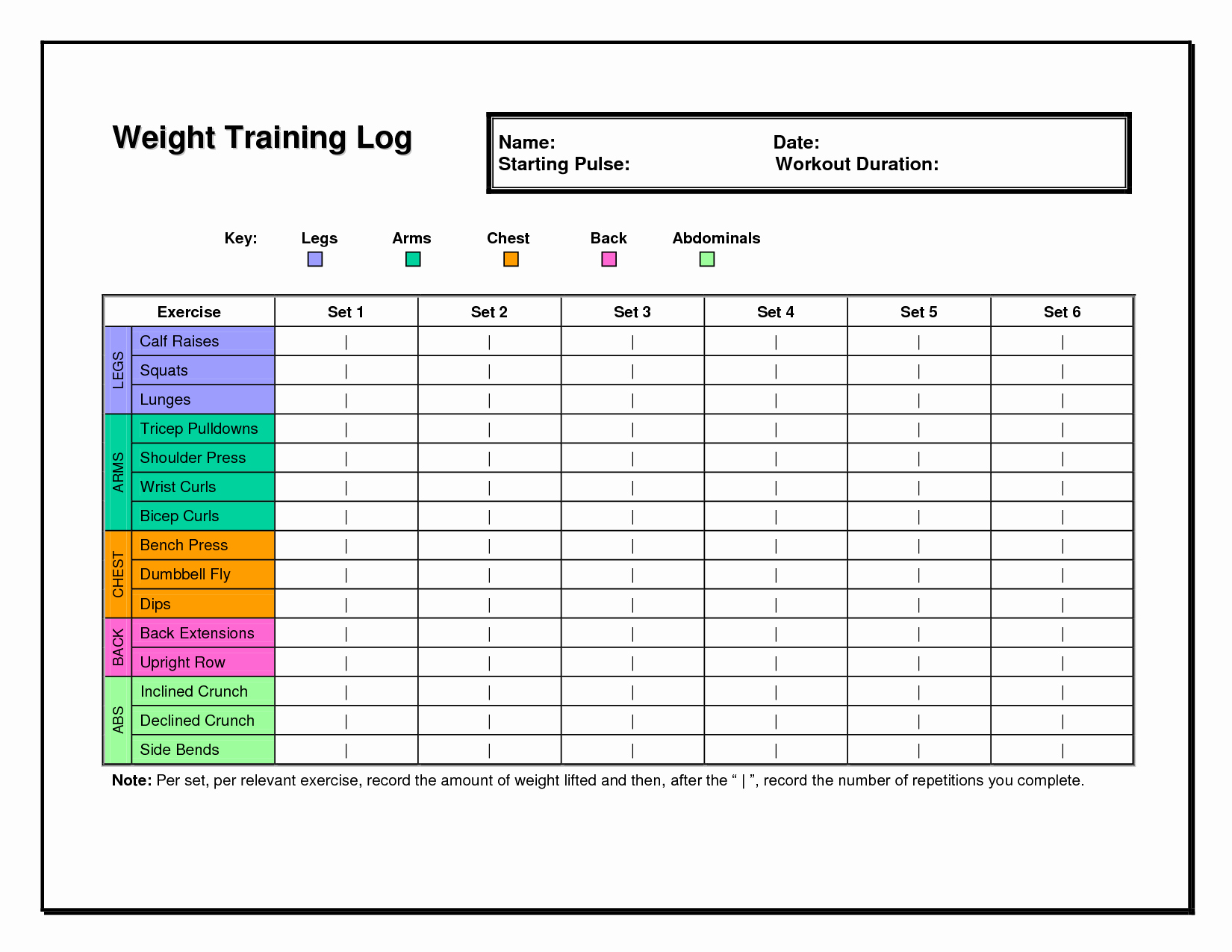 Training Log Template Luxury Workout Log Template Fitness & Health