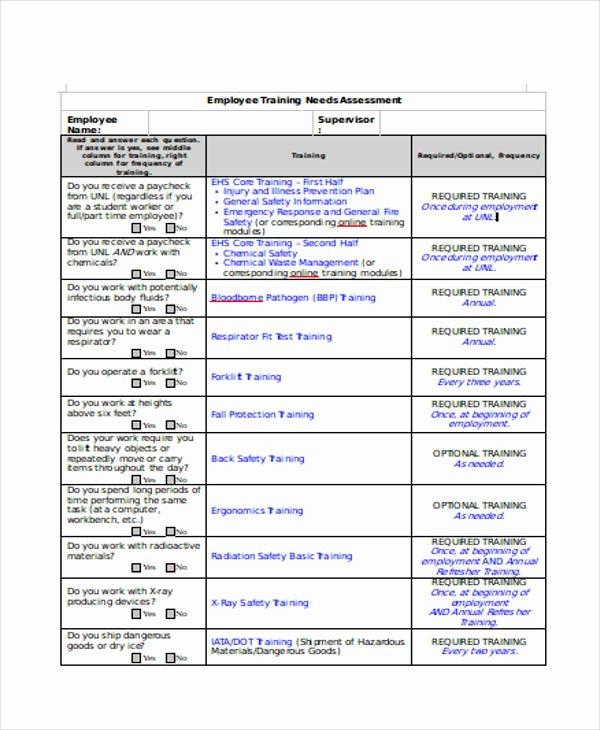 Training Needs Survey Luxury 28 Sample Needs assessment form