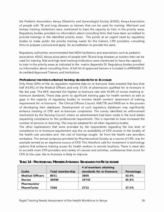 Training Needs Survey New Kenya Health Workforce Training Needs assessment Report