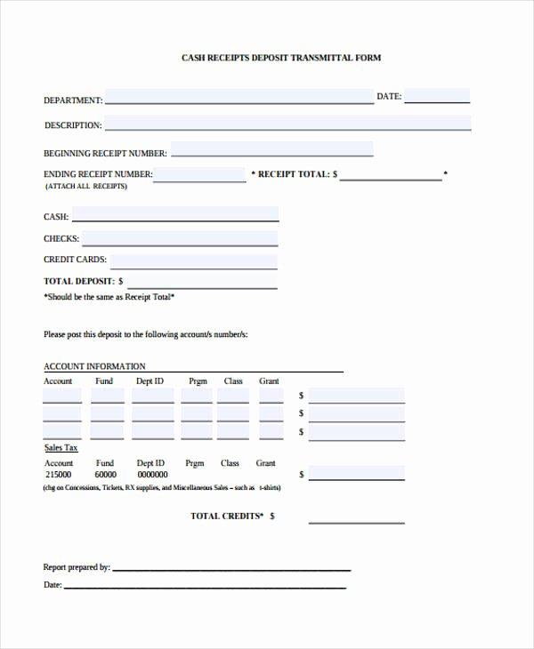 Transmittal form Sample Awesome 10 Cash Receipt form Sample Free Sample Example format