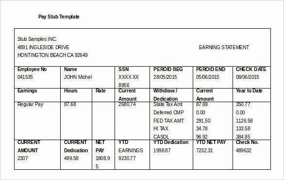 Truck Driver Pay Stub Template Fresh 24 Pay Stub Templates Samples Examples & formats