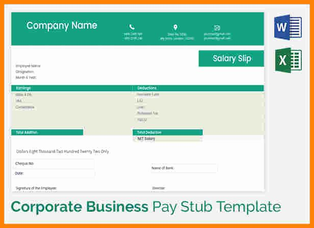 5 truck driver pay stub template