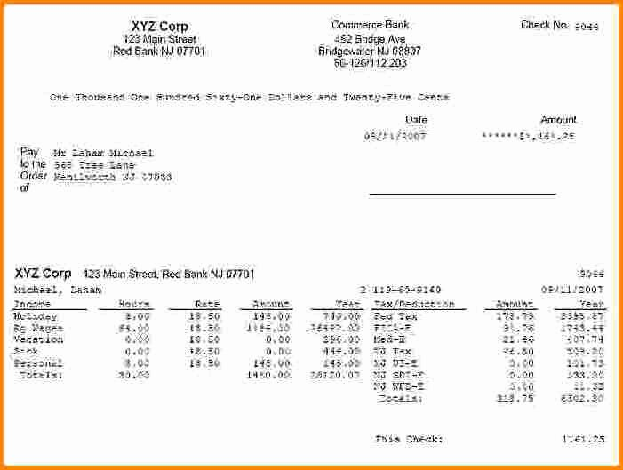 Truck Driver Pay Stub Template Inspirational 8 Paycheck Stub Example