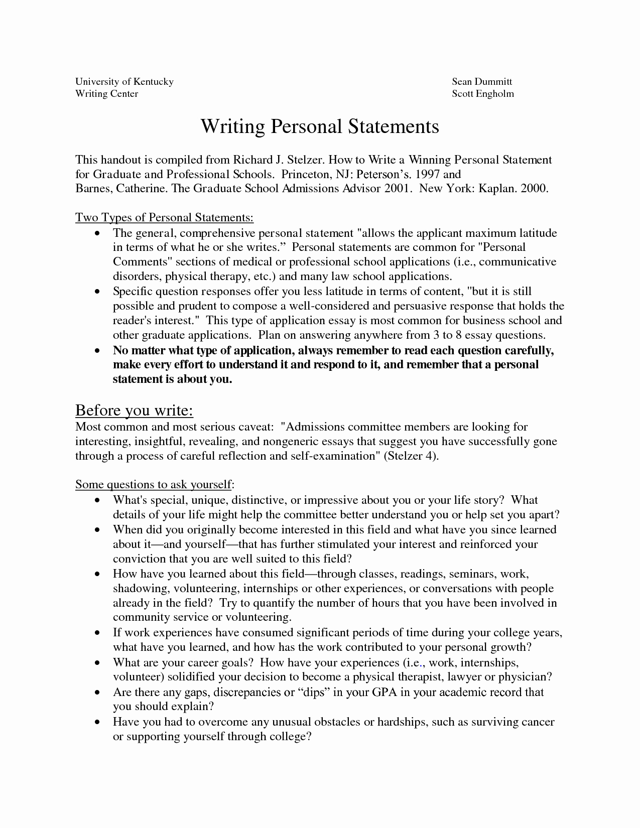 Uc Application Personal Statements New Sample Personal Statements Graduate School