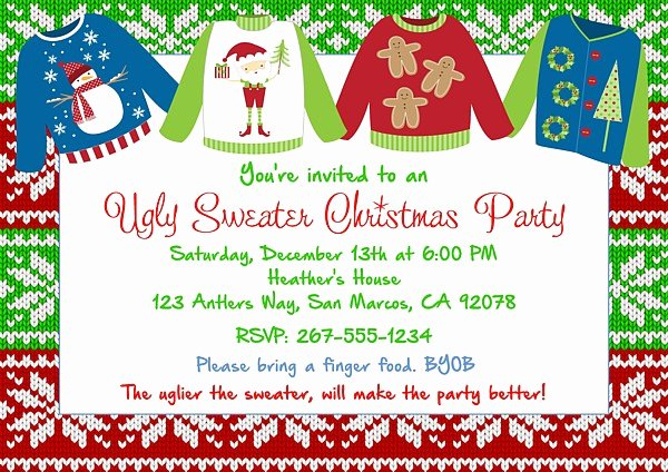 Christmas Party Invitations Ugly Sweater 4