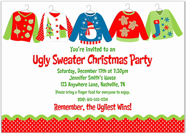Ugly Sweater Invitation Template Free New Crazy Christmas Sweater Party Invitations