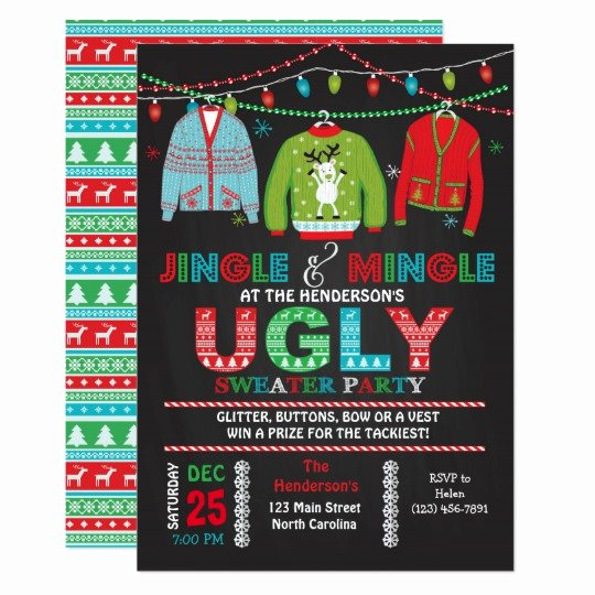 Ugly Sweater Invitation Template Free Unique Tacky Ugly Sweater Christmas Party Invitation
