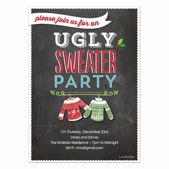 holiday invite ugly sweater party