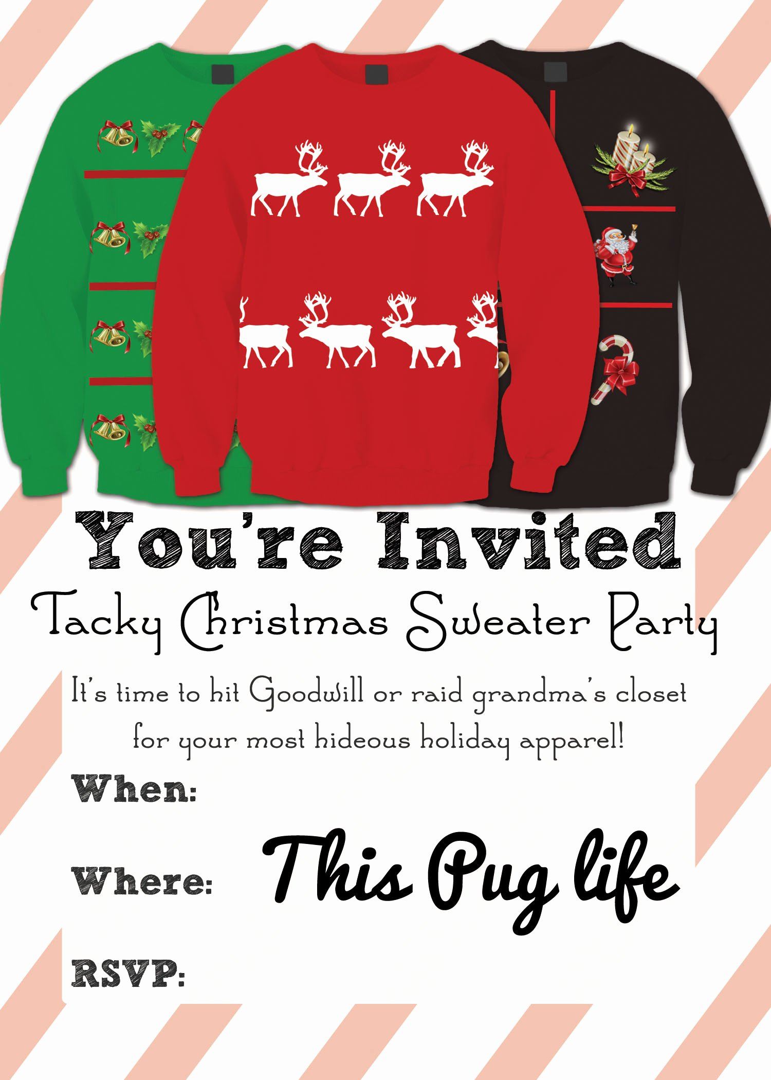 Ugly Sweater Party Invitation Template Free Fresh Tacky Christmas Sweater Party Invitations – Free Printable