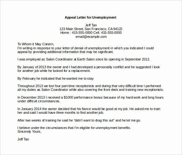 Unemployment Appeal Letter Awesome 18 Appeal Letter Templates Pdf Doc