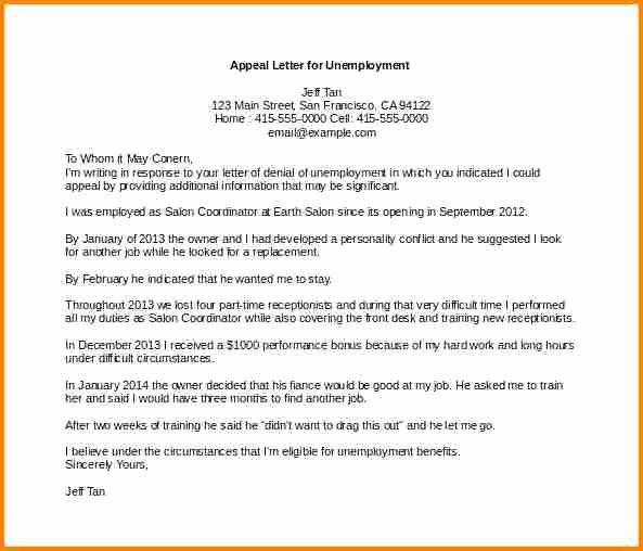 Unemployment Appeal Letter Beautiful 8 Sample Appeal Letter for Unemployment Denial